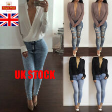 UK Spring Deep V-Neck Womens Tops Chiffon Shirt Slim Sexy Blouse Long Sleeve Tee
