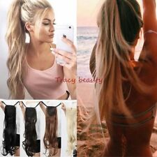 Real Thick Wavy Straight Drawstring Ponytail Clip in Hair Extensions as Human FO