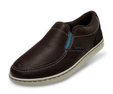 MENS CROCS LOPRO SLIP-ON SNEAKERS DARK BROWN LEATHER CASUAL SHOES US SIZE M7