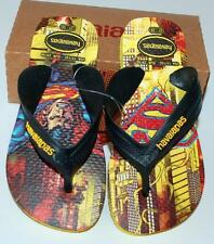 HAVAIANAS Genuine BNWT Kids THONGS FLIP FLOPS Sandals herois black yellow Logo