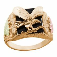Black Hills Gold eagle onyx ring mens whole/half size 9 10 11 12