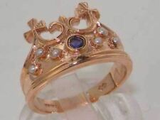Solid 9ct Rose Gold Natural Amethyst & Pearl Coronet Crown Band Ring