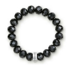 NEW Thomas Sabo Faceted Obsidian Stretch Charm Bracelet Sterling Silver Black