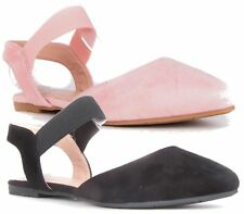 WOMENS FLAT FAUX SUEDE BALLERINA ELASTICATED SLINGBACK PUMPS SLIP ON SHOES 3-8