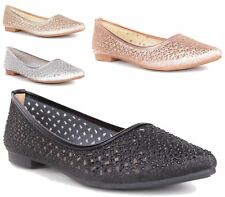 NEW WOMENS FLAT BALLET PUMPS SLIP ON METALLIC BALLERINA DIAMANTE WALKING SHOES