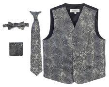 Formal Wear Boys Suit  Paisley Tuxedo Vest,Bow tie,Tie,Pocket Square Wedding Nwt
