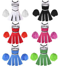 ADULT CHEERLEADER COSTUME AND POM POMS LADIES CHEER LEADER UNIFORM HIGH SCHOOL