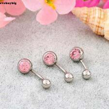 Women Single side with Rhinestone Ball Button Barbell Belly Navel Ring EE6