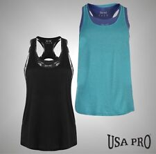 Ladies Branded USA Pro Lightweight 2in1 Crew Neck Vest Racer Back Top Size 8-16