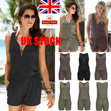 Womens Sleeveless Slim Playsuit Summer Beach Jumpsuit Deep V Romper Shorts Pants