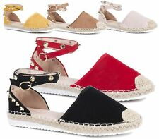 WOMENS FLATS GOLD STUDDED ANKLE BUCKLE SLIP ON ESPADRILLES SUMMER PUMPS SHOES