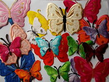 Embroidered Butterfly  Iron/Sew On Applique / Patch choose shape
