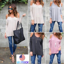 Women's Sexy Cold Shoulder Long Sleeve Tunic Tops Casual Loose Blouse T-Shirt US