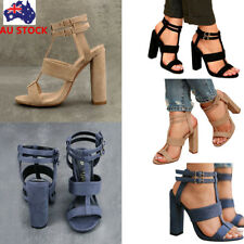 Women Block High Heel Ankle Strap Sandals Summer Beach Peep Toe Buckle Shoes