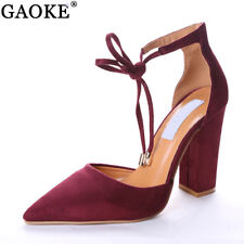 6 Colors Pointed Strappy Pumps Sexy Retro High Thick Heels Shoes 2108 New Woman