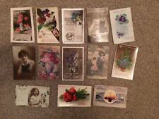 JOB LOT OF 13 VINTAGE BIRTHDAY POSTCARDS, USED
