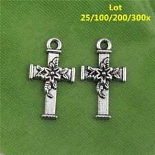 Free Ship 20/300Pcs Tibetan Silver Flower Cross Charms Pendants Crafts 21x12mm