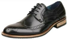 Mens UK Size 12 Black Leather Lined Lace Up Brogue Shoes