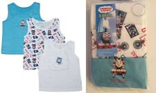 NEW BOYS THOMAS THE TANK ENGINE TRAIN 3 PACK 100% COTTON SLEVELESS VESTS