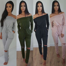 Lady Long Sleeves Off-shoulder Rompers Jumpsuits Sexy Playsuits Solid Long Pants