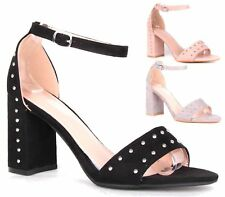 WOMENS HIGH BLOCK HEEL PEEP TOE SANDAL PARTY CASUAL BUCKLE ANKLE STRAP SHOES 3-8
