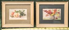 Vintage Lot of Two Framed Swiss Water Color Postcards tob