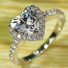 New GİFT 925 Silver Ladies Heart Cut Wedding Engagement Bridal Ring  ALL size