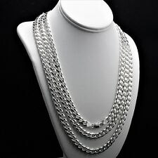 """Heavy 9mm 20"""" Solid 925 Sterling Silver Cuban Link 6 Sided Curb Chain 57 grams"""