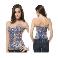 Corsage Top Jeans Corsage Corset Basque Bustier Blouse Flowers Blue Laundry Bags