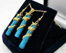 Set Lady Women Jewelry Dragon Jade Turqoise Pendant Earrings Fortune Gifts