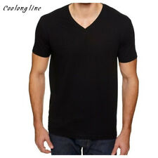 Mens V Neck T Shirts Slim Fitting Blank Solid Tees Cheap Cotton T-Shirt Basic