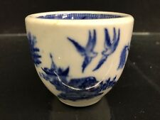 Transfer Ware FLOW BLUE ANTIQUE Handleless Cup - BLUE Chinese Pattern