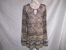 PERSEPTION CONCEPT Tunic Top L Sheer Mesh Stretch Long Sleeves Brown Black