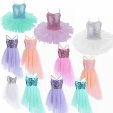 Girls Kids Gymnastics Ballet Dress Leotard Tutu Skirt Skating Dance wear Costume