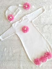 Baby Infant Layette Baby Gown, beanie hat OR headband set. Going home newborn