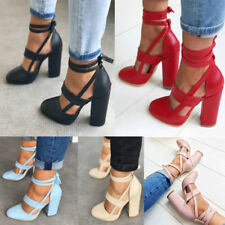 Hot Ladies Summer Pointed Toe Lace Up Ankle Strap Sandals Block High Heels Shoes