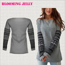 Womens T Shirt Blouses Casual Tops Long Sleeve Loose Fashion Gray Tee Plus Size