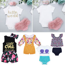NEWBORN BABY GIRLS CLOTHES OUTFIT INFANT BIRTHDAY PARTY DRESS SET BODYSUIT PANTS