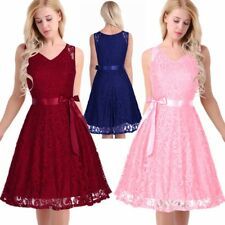 Women's Sleeveless V-Neck Bridesmaid Dress Evening Gown Party A-Line Lace Dress