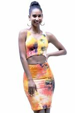 Orange Tie Dye Sleeveless V-Neck Cutout Front Knee Length Dress