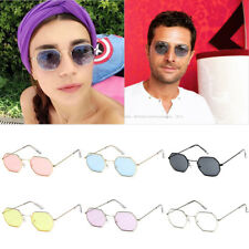 Retro Hexagon Square Sunglasses Slim Metal Frame Glasses Unisex Fashion Party