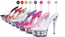 Womens Flower transparent Open Toe High Heels Slipers Platform Shoes Sandal Sexy