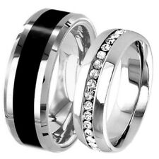 His Hers Wedding Set Black Tungsten 8 mm Band & Stainless Steel Eternity CZ Ring