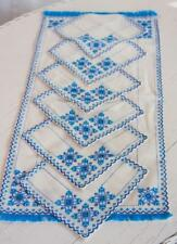 Vintage Ukrainian Hand Made Cross Stitch Set/7 Coasters Runner Doily Blue White