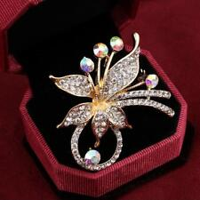 Elegant Peacock Butterfly Rhinestones Brooch Pin Simulated Pearl Fashion Jewelry