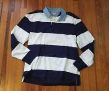 NEW MEN'S  M L XL J CREW RUGBY LONGSLEEVE POLO SHIRT IN BLUE AND WHITE STRIPE