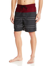 NWT Nautica Mens Quick Dry Swim Trunk Color Black and Red Stripes Pick Your Size