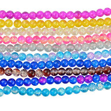 Glass Round Crackle Loose Spacer Beads Jewelry DIY Charms Beading Crafts 8mm