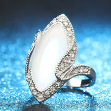 Women Marquise Cut Artificial Stone Shiny Rhinestone Finger Ring Gift Convenient