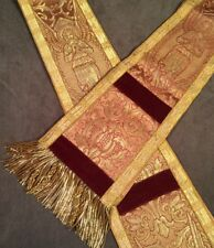 Beautiful Vintage Catholic Church Priest Stole Broad Stole Clergy Gold Angels